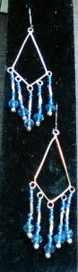 Earrings, silver large diamond w/hanging blue glass seed beads.$12.00