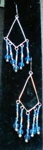 Earrings, silver w/ blue glass seed beads.$12.00